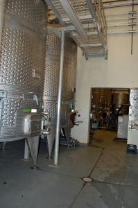 Wine processing tanks at winery